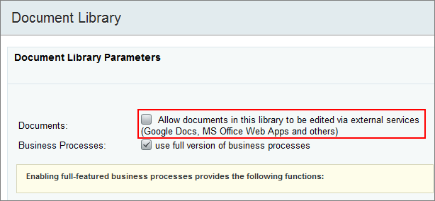 Document library parameters