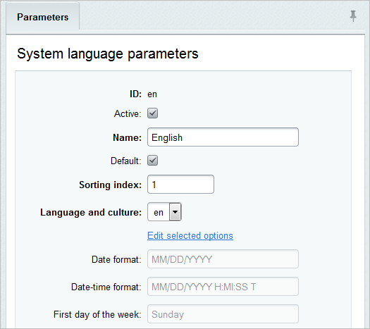 Site Settings and Language Settings