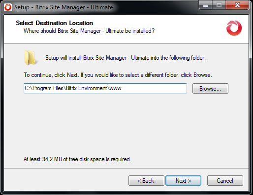 Destination folder selection