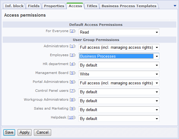 Configure the user group access permission