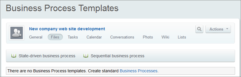 Typical business processes click create standard business processes the page will reload showing the created templates accmission Image collections