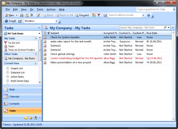 ms outlook tasks