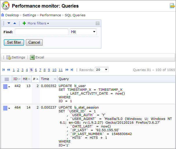 Performance monitor: Queries