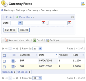 When Converting Currencies For A Cur Date The System Takes Newest Exchange Rate If Is Not Found Default Will Be Used From