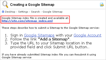 When the sitemap is ready, you will see brief instructions on how to dispatch your sitemap to Google, as well as the sitemap link for downloading: